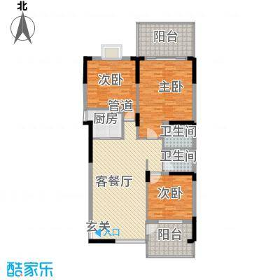水木天骄3C户型3室2厅2卫1厨