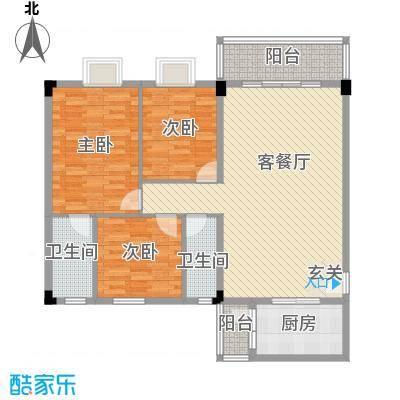 泰景花园户型3室1厅2卫1厨