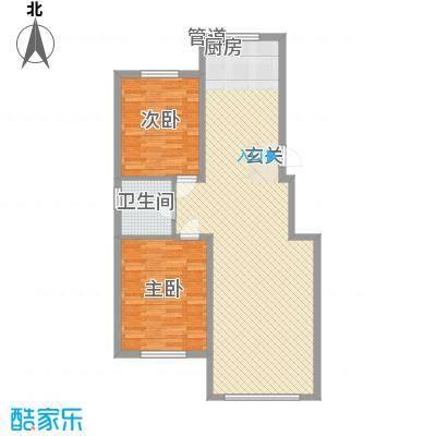 锦绣澜湾14.40㎡5#6#户型2室2厅1卫1厨