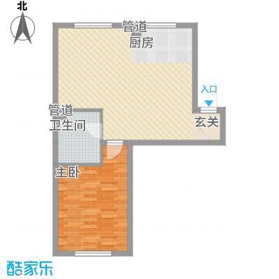 锦绣澜湾64.54㎡1#2#户型1室2厅1卫1厨