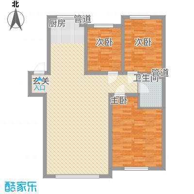 锦绣澜湾15.35㎡3#4#户型3室2厅1卫1厨