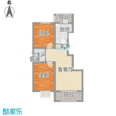 通泰观海首府B-2户型2室2厅1卫1厨