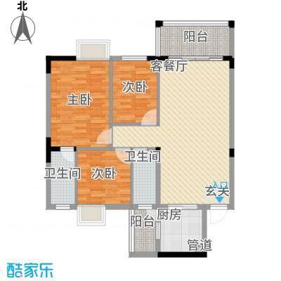 金山祥和花园18.23㎡E2户型3室2厅2卫1厨