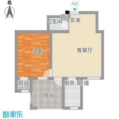 丰远・泗水玫瑰城6.82㎡高层E9-3户型1室2厅1卫