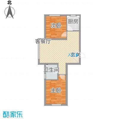 源隆・清华园76.52㎡单页G1净尺寸(180X285mm)户型2室2厅1卫1厨