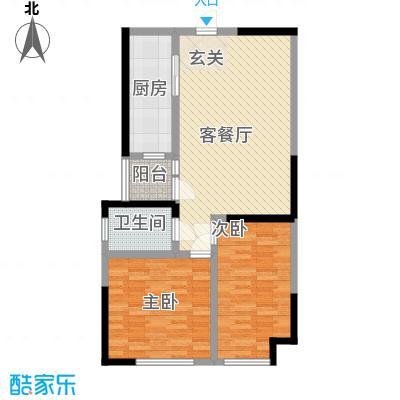 天力水榭春城3.34㎡F户型2室2厅1卫