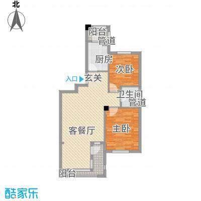 丰远・泗水玫瑰城84.80㎡高层E7-1户型2室2厅1卫