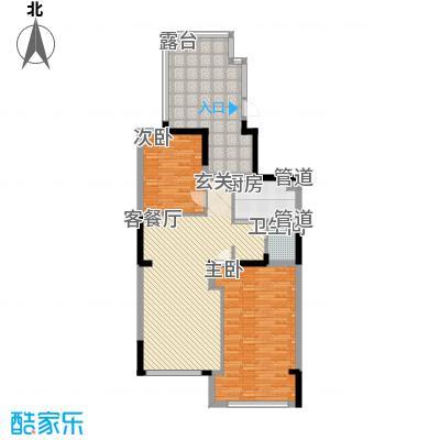 天力水榭春城6.10㎡B顶层户型2室2厅1卫