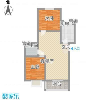 富东景苑85.00㎡J户型2室2厅1卫1厨