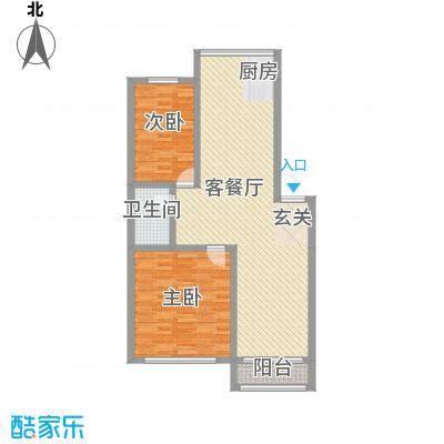 高山明珠15.51㎡户型2室2厅1卫1厨