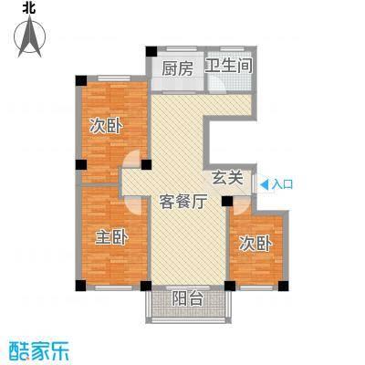府锦花园111.64㎡C户型3室2厅1卫1厨