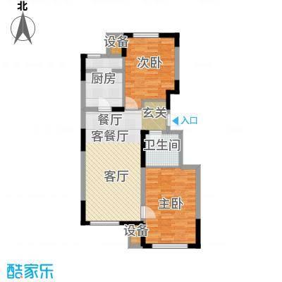 东丽湖万科城鹭湖90.00㎡两室两厅一卫户型2室2厅1卫-副本