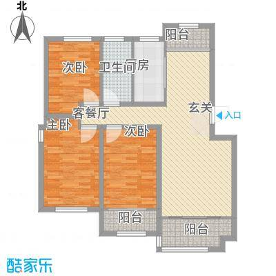 枫林绿洲115.00㎡3-2-1户型3室2厅1卫1厨