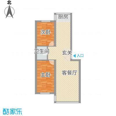 铭丰渤海明珠家园户型2室2厅1卫1厨