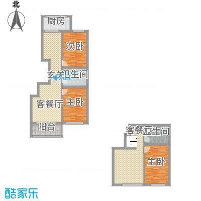 嘉乐园13.40㎡B3户型2室2厅1卫1厨