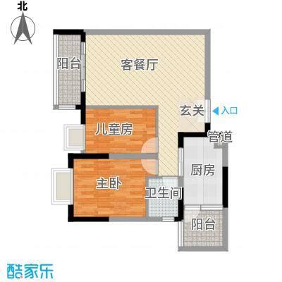东江豪苑2.20㎡一座户型2室2厅1卫