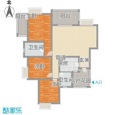 倍特领尚144.64㎡标准层E1户型3室2厅2卫1厨