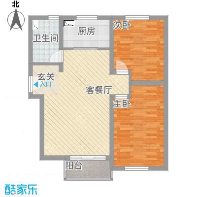 未来城88.30㎡2T4-D户型2室2厅1卫1厨