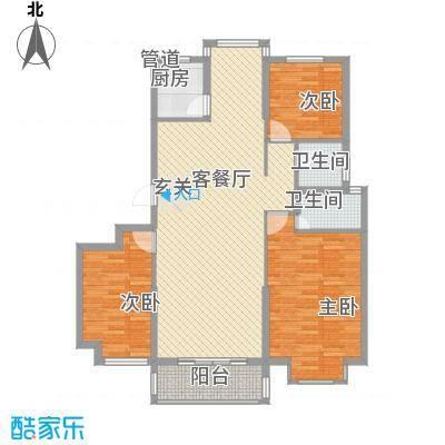 金色华庭A408户型3室2厅2卫