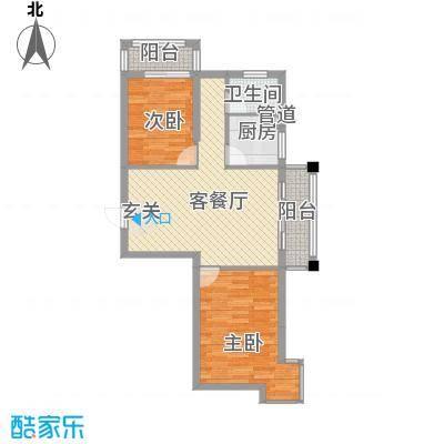 金色华庭A404户型2室2厅1卫