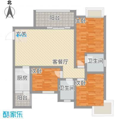 同立悦城13.20㎡F3户型3室2厅1卫1厨