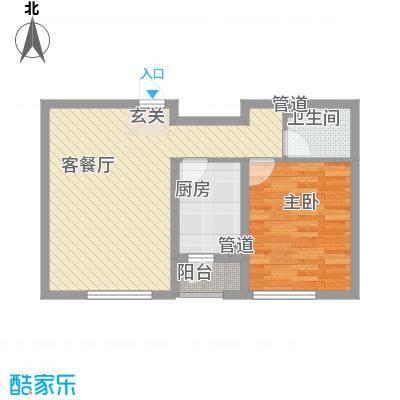 丰远・泗水玫瑰城6.56㎡洋房6#D4-1户型1室2厅1卫