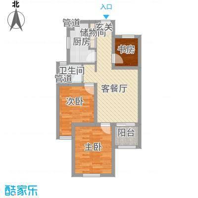 京东紫晶一期5#6#标准层M80户型
