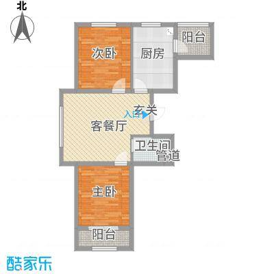 通泰观海首府82.30㎡B-1户型2室2厅1卫1厨