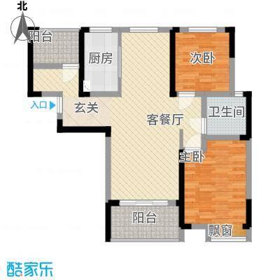 翡翠华庭11.11㎡F户型2室2厅1卫1厨
