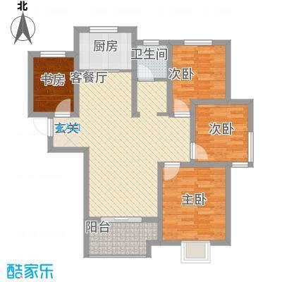 翡翠华庭17.16㎡C户型3室2厅1卫1厨