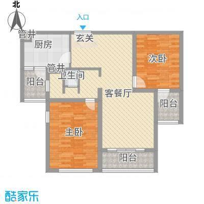 鹏欣・水游城17.47㎡D2户型2室2厅1卫1厨