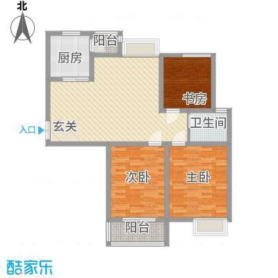 乾盛兰庭114.00㎡B户型3室2厅1卫1厨