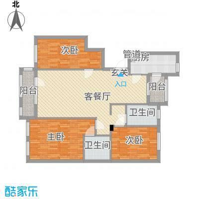 瀚新东方托莱多126.40㎡12#12694-拷贝户型3室2厅2卫