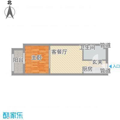 一等海1#-B户型1室2厅1卫1厨
