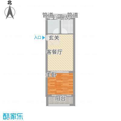 一等海3#/5#-D户型1室2厅1卫1厨