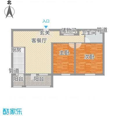 一等海6#-2户型2室2厅1卫1厨