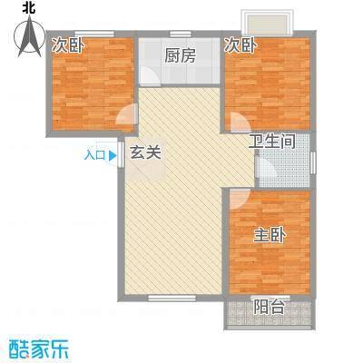兴发城东逸景83.00㎡C1户型3室2厅1卫1厨