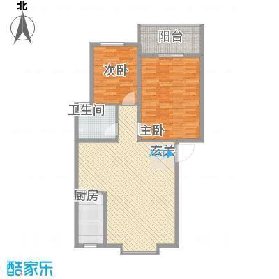 兴发城东逸景7.47㎡A12户型2室2厅1卫1厨