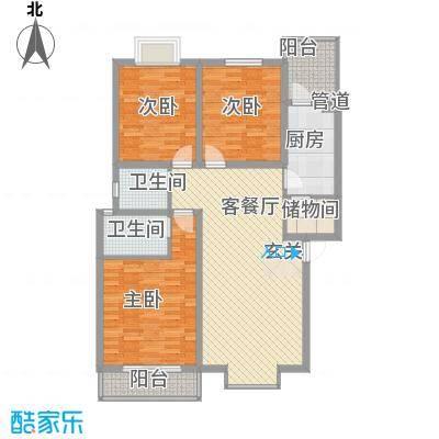 兴发城东逸景111.73㎡E户型3室2厅2卫1厨