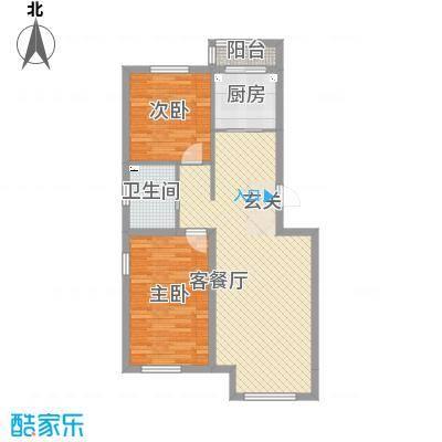 源隆・清华园88.35㎡单页D1净尺寸(180X285mm)户型2室2厅1卫2厨