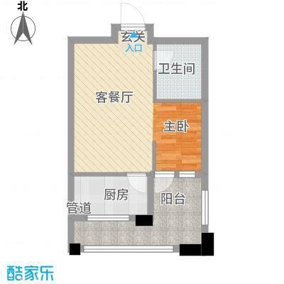 丰远・泗水玫瑰城52.12㎡高层31#E14-3户型1室2厅1卫