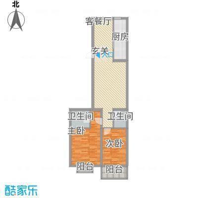 华兴太阳城・东领伯爵6.78㎡7#楼B户型2室2厅2卫
