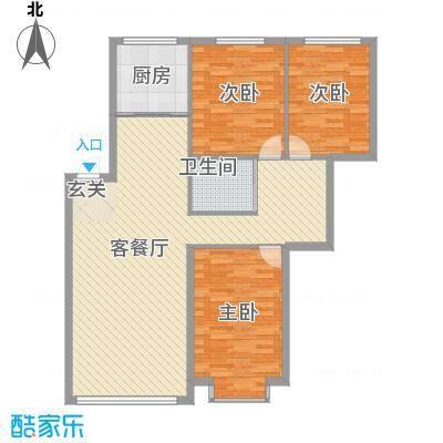 宇城轩花园1.27㎡I户型3室2厅1卫1厨