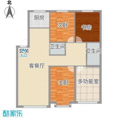 宇城轩花园133.73㎡J户型3室2厅2卫1厨