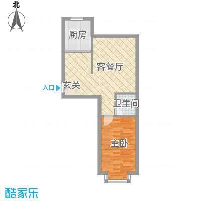 宇城轩花园56.20㎡B户型1室1厅1卫1厨