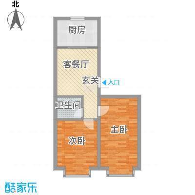 宇城轩花园7.70㎡D户型2室1厅1卫1厨