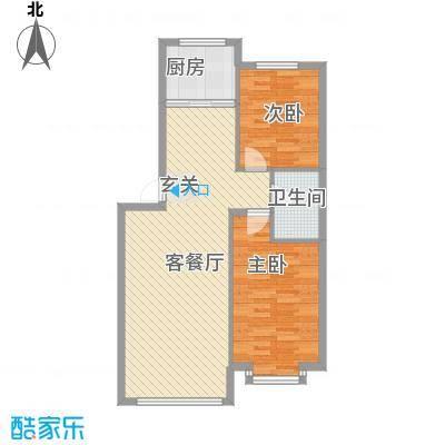 宇城轩花园86.34㎡E户型2室1厅1卫1厨