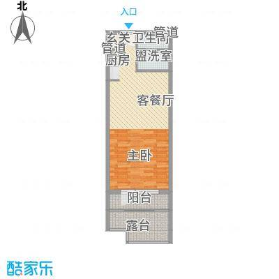 恒泰・时间海54.00㎡5、6号楼E正面户型1室1厅1卫1厨