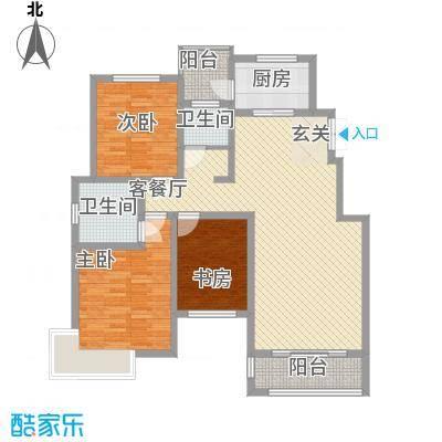 新城国际136.50㎡一期A户型3室2厅2卫1厨