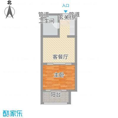 一等海1#-D户型1室1厅1卫1厨
